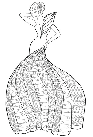 iroquois: Coloring book page for adults. Woman in a long dress. Fashion.