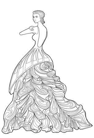 frizz: Coloring book page for adults. Woman in a long dress. Fashion.