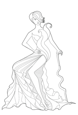 Coloring book page for adults. Sitting girl in a long dress. Fashion.