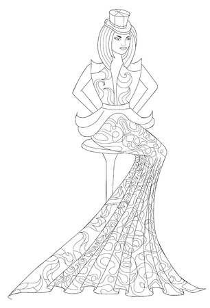 habiliment: Coloring book page for adults. Sitting girl in a long dress. Fashion.