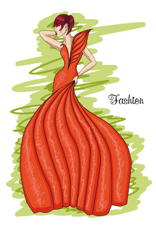 frizz: Woman in a long orange dress. Flame-colored dress. Fashion and hairstyle.