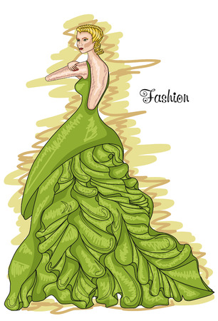 habiliment: Woman in a long green dress. Greenery-colored dress. Hairstyle and Fashion. Illustration