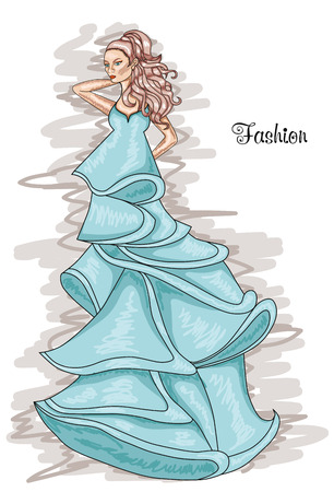 Woman in a long blue dress. Iceland Paradise-colored dress. Hairstyle and Fashion. Illustration