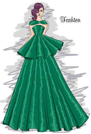 Woman in a long green dress. Lush meadow-colored dress. Hairstyle and Fashion. Illustration