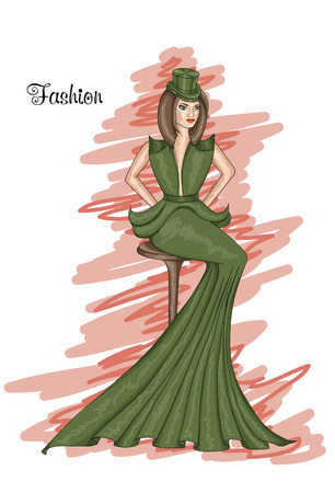 frizz: Sitting girl in a long green dress. Kale-colored dress. Hairstyle and Fashion. Illustration