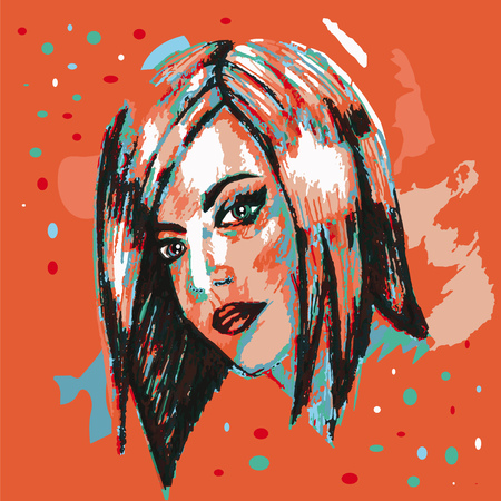 Colorful poster. Bob hairstyle. Abstraction.