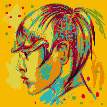 iroquois: Colorful poster. Hairstyle. Abstraction.