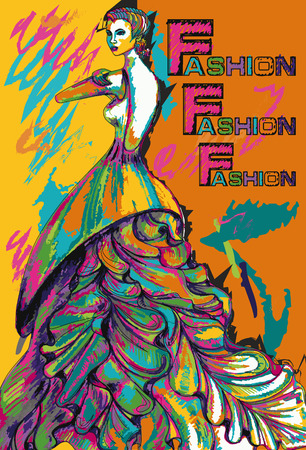 Colorful poster. Fashion girl in a long dress.