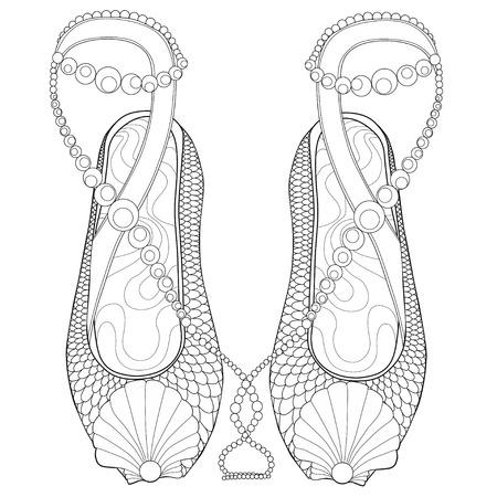 Página Para Colorear Zapatos Para Adultos. Ilustraciones Vectoriales ...