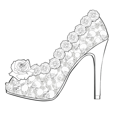pump shoe: Shoe with roses and skulls. Coloring books for adults. Illustration