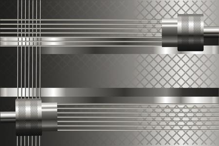 details: Silver background with mechanical details. Metallic luster. Illustration