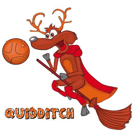 The deer plays quidditch. Cartoon style. Clip art for children.