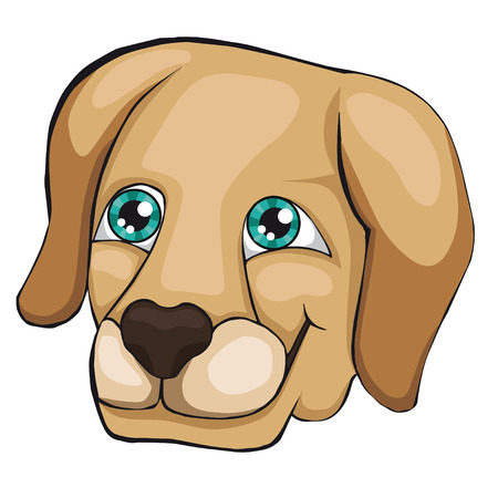 The head of the labrador retriever. Cartoon style. Isolated on white background. Clip art for children.