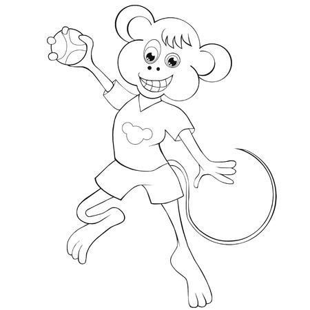 Coloring book monkey plays handball. Cartoon style. Clip art for children.