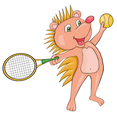 Hedgehog plays tennis. Cartoon style. Clip art for children. Illustration