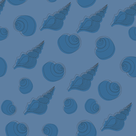 reiteration: Seamless blue pattern with seashells. Line work.