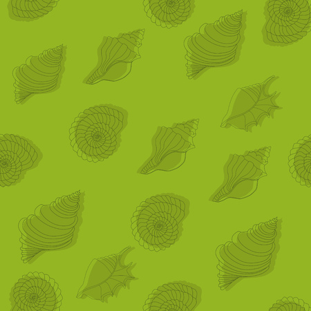 reiteration: Seamless green pattern with seashells. Line work.