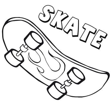 スケート ボードでの塗り絵。  イラスト・ベクター素材