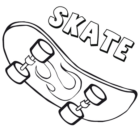 Coloring book with skateboard.
