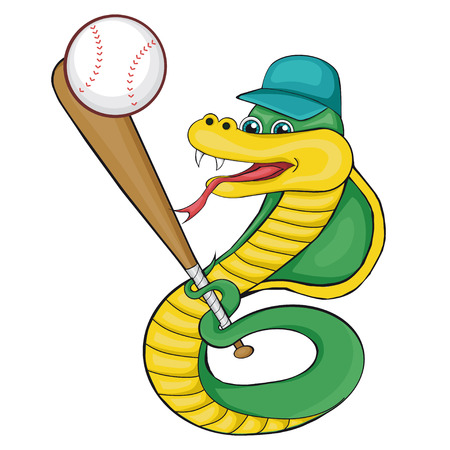 Snake playing baseball. Cartoon style. Clip art for children.