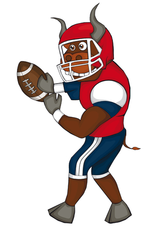Bull plays American football. Cartoon style. Isolated image on white background. Clip art for children Illustration