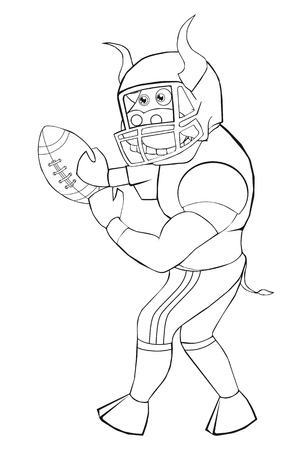 casque: Coloring book bull plays American football.  Cartoon style. Isolated image on white background. Clip art for children.