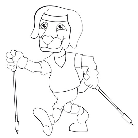 Coloring book dog does Nordic walking. Cartoon style. Isolated image on white background. Clip art for children.