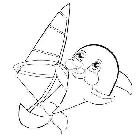 Libro para colorear windsurf con delfines. Estilo de la historieta. Clip art para los niños. Foto de archivo - 80711716