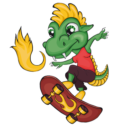 Dragon skater. Cartoon style. Clip art for children.