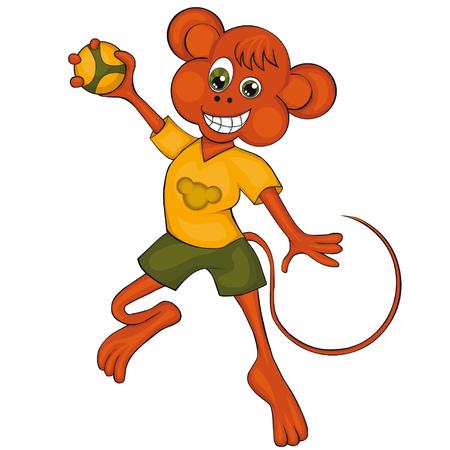 Monkey speelt handbal. Cartoon stijl. Clipart voor kinderen.