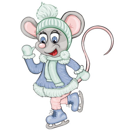 The little mouse skates. Cartoon style. Isolated image on white background. Clip art for children.