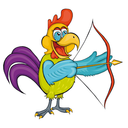 Rooster. Archery. Cartoon style. Isolated image on white background. Clip art for children.