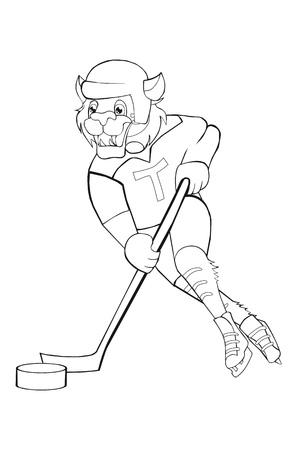 Coloring book Tiger plays hockey. Cartoon style. Isolated image on white background. Clip art for children.