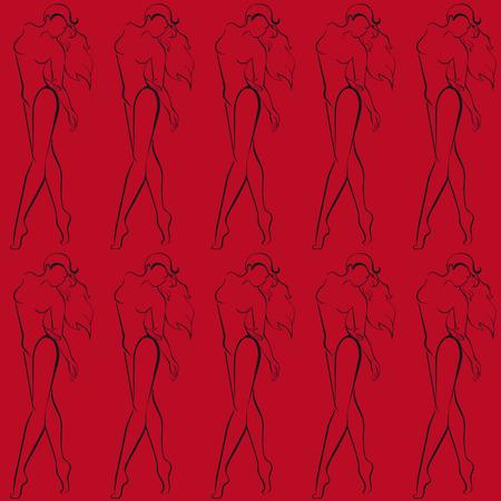 Rode illustratie met zwarte vrouwelijke silhouetten. Stock Illustratie