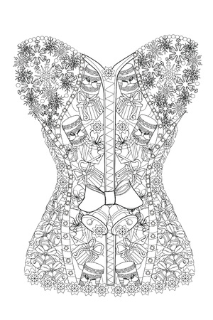 Coloring page christmas corset therapy line art for adults vector illustration