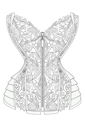Coloring page corset with lace therapy line art vector illustration.