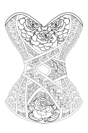 Coloring page corset with roses therapy line art vector illustration. Иллюстрация