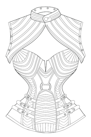 Coloring page for adults. Corset with bolero. Art Therapy. Line art illustration.