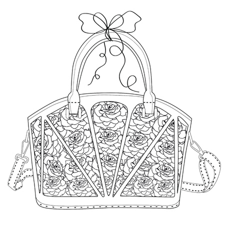 Coloring page for adults. Bag with roses. Art Therapy. Line art illustration.