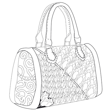 Coloring page for adults. Bag with tulip. Art Therapy. Illustration