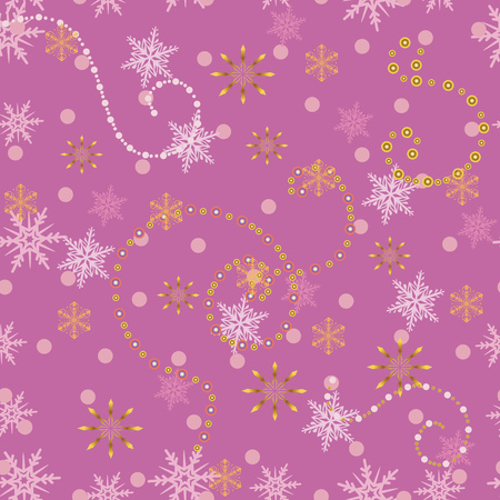 Christmas pink seamless pattern with golden snowflakes. Illustration