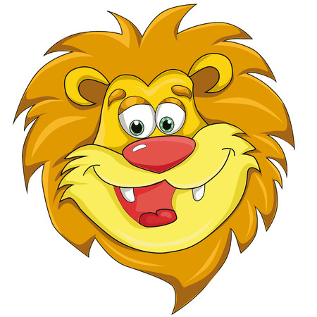 Lions head cartoon style. isolated image on white background clip art for children. Ilustrace