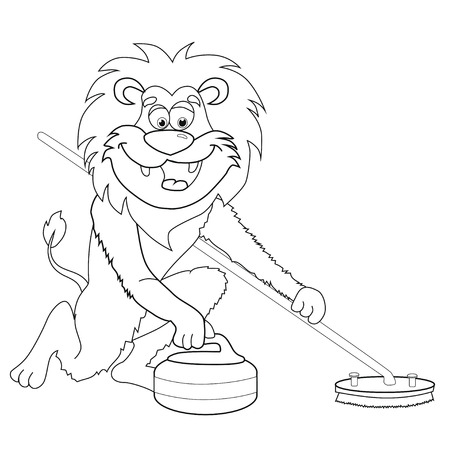 Coloring book lion curling cartoon style. isolated image on white background clip art for children.