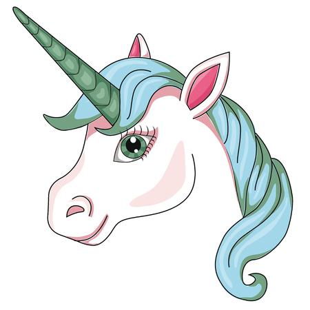 Estilo de dibujos animados de cabeza de unicornio. imagen aislada en imágenes prediseñadas de fondo blanco para niños.