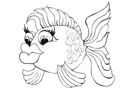 Coloring beautiful fish. Isolated image on white background. Cartoon style illustration.