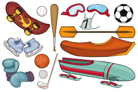 Sports Equipment Set. Cartoon style. Isolated image on white background. Illustration