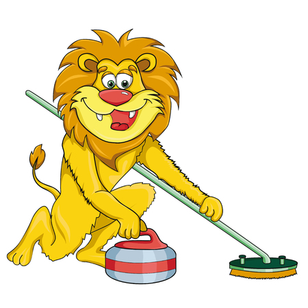 Lion curling Cartoon style. Isolated image on white background. Clip art for children.
