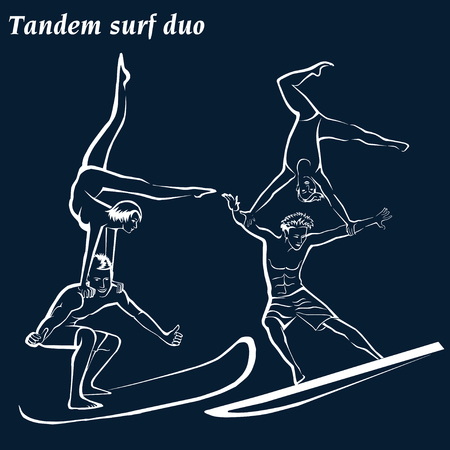 Silhouette of a surfers. Acrobatic surfing (Acrobatic surf duo). Tandem surf duo. White silhouettes on a blue background.