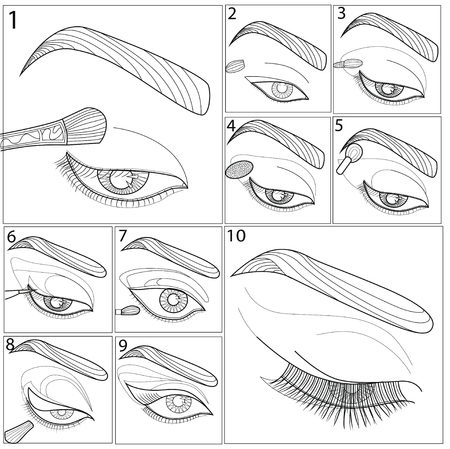 Template for make up. Art therapy. Coloring book for adults.