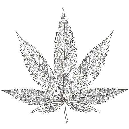 Cannabis. Art therapy. Coloring book for adults.